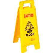 Rubbermaid® 6112-77 Floor Sign 2 Sided - Caution Wet Floor