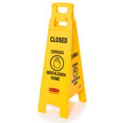 Rubbermaid® Floor Sign 4 Sided Multi-Lingual - Closed