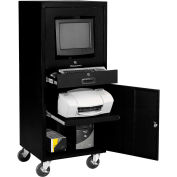 Global Industrial™ Mobile Security Computer Cabinet, Black, Unassembled