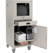 Mobile Security Computer Cabinet - Gray