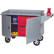 """Global Industrial™ Mobile Service Bench Cabinet w/ Steel Square Edge Top, 63""""W x 26""""D, Gray"""