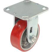 "Heavy Duty Rigid Plate Caster 4"" Polyurethane Wheel 600 Lb. Capacity"