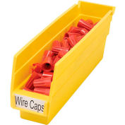 "Akro-Mils Plastic Shelf Bin Nestable 30110 - 2-3/4""W x 11-5/8""D x 4""H Yellow - Pkg Qty 24"