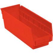 """Akro-Mils Plastic Shelf Bin, 4-1/8""""W x 11-5/8""""D x 4""""H Red - Pkg Qty 24"""