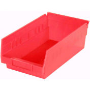 "Akro-Mils Plastic Shelf Bin Nestable 30130 - 6-5/8""W x 11-5/8""D x 4""D Red - Pkg Qty 12"