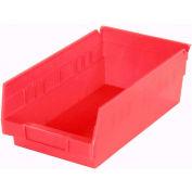 "Akro-Mils Plastic Shelf Bin Nestable 30130 - 6-5/8""W x 11-5/8""D x 4""D Red - Pkg Qty 12"