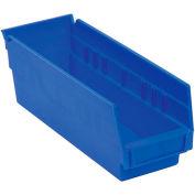 """Akro-Mils Plastic Shelf Bin, 6-5/8""""W x 17-7/8""""D x 4""""H Blue - Pkg Qty 12"""