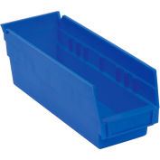 "Akro-Mils Plastic Shelf Bin Nestable 30164 - 6-5/8""W x 23-5/8""D x 4""H Blue - Pkg Qty 6"