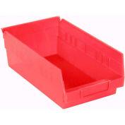 "Akro-Mils Plastic Shelf Bin Nestable 30150 - 8-3/8""W x 11-5/8""D x 4""H Red - Pkg Qty 12"