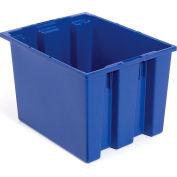 """Akro-Mils Nest & Stack Tote 35195 - 19-1/2""""L x 15-1/2""""W x 13""""H, Blue - Pkg Qty 6"""
