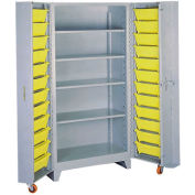 Lyon Storage Cabinet With 5 Full Shelves 24 Tilt Bins DD1125 - 38x28x76 Gray