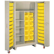 Lyon Storage Cabinet With1 Full Shelf 5 Half Shelves 36 Tilt Bins PP1128 - 38x28x76 Putty