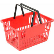 "Plastic Shopping Basket with Plastic Handle, Large, 19-3/8""L X 13-1/4""W X 10""H, Red, Good L ® - Pkg Qty 12"