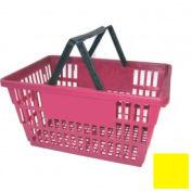 "Plastic Shopping Basket with Plastic Handle, Large,19-3/8""L X 13-1/4""W X 10""H, Yellow, Good L ® - Pkg Qty 12"