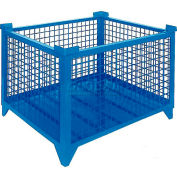 """Topper Stackable Steel Container 61011B Wire Mesh, 48""""L x 48""""W x 24""""H, Blue"""