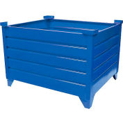 """Global Industrial™ Stackable Steel Container, 35""""Lx35""""Wx18""""H, Blue"""
