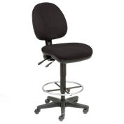Office Stool - Fabric - 360° Footrest - Black