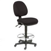 Office Stool - Fabric - 360° Footrest - Black