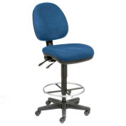 Office Stool - Fabric - 360° Footrest - Blue