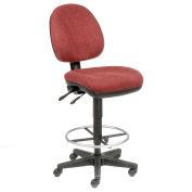 Office Stool - Fabric - 360° Footrest - Burgundy