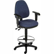 Interion™ Synchro Operator Stool - 360° Footrest With T-Arms - Blue