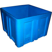 "Dandux Forkliftable Double Wall Skid Bulk Container 51-2118U - 44"" x 44"" x 31-1/2"", Blue"