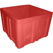 """Dandux Forkliftable Double Wall Skid Bulk Container 51-2118RD - 44"""" x 44"""" x 31-1/2"""", Red"""