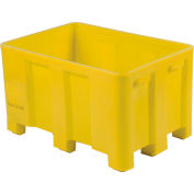 """Dandux Forkliftable Double Wall Skid Bulk Container 51-2126YL - 54"""" x 44"""" x 31"""", Yellow"""