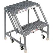 "Grip 16""W 2 Step Steel Rolling Ladder 10""D Top Step"