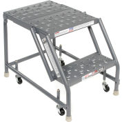 "Perforated 16""W 2 Step Steel Rolling Ladder 20""D Top Step"
