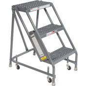 "Grip 16""W 3 Step Steel Rolling Ladder 10""D Top Step"