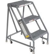 "Grip 16""W 3 Step Steel Rolling Ladder 20""D Top Step"