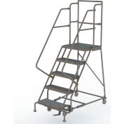 "Grip 16""W 5 Step Steel Rolling Ladder 20""D Top Step"