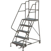 "Perforated 24""W 5 Step Steel Rolling Ladder 20""D Top Step"