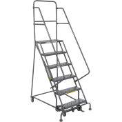 """6 Step 24""""W 20""""D Top Step Steel Rolling Ladder - Perforated Tread"""
