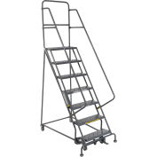 """7 Step 24""""W 10""""D Top Step Steel Rolling Ladder - Perforated Tread"""