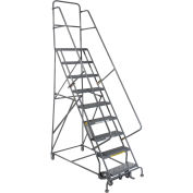 "9 Step 24""W 10""D Top Step Steel Rolling Ladder - Grip Tread"