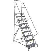"9 Step 24""W 20""D Top Step Steel Rolling Ladder - Grip Tread"