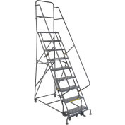 """9 Step 24""""W 20""""D Top Step Steel Rolling Ladder - Perforated Tread"""