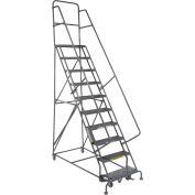 "10 Step 24""W 20""D Top Step Steel Rolling Ladder - Grip Tread"