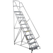 "11 Step 24""W 10""D Top Step Steel Rolling Ladder - Grip Tread"