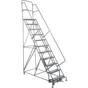 "11 Step 24""W 10""D Top Step Steel Rolling Ladder - Grip Tread"
