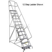 "16 Step 24""W 10""D Top Step Steel Rolling Ladder - Perforated Tread"