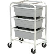 "Aluminum 3 Tote Box Cart, 26""L x 19""W x 41""H"