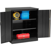 Tennsco Counter Height Industrial Storage Cabinet 2442-BLK - 36x24x42 Black