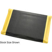 "Diamond Plate Ergonomic Mat 15/16"" Thick 36""W Full 75Ft Roll Black/Yellow Border"