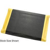 "Diamond Plate Ergonomic Mat 15/16"" Thick 48""W Full 75Ft Roll Black/Yellow Border"