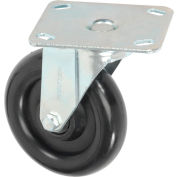 "Medium Duty Rigid Plate Caster 5"" Polyurethane Wheel 250 lb. Capacity"