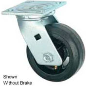 """Faultless Swivel Plate Caster 1418-6RB 6"""" Mold-On Rubber Wheel with Brake"""