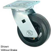 """Faultless Swivel Plate Caster 1418-8RB 8"""" Mold-On Rubber Wheel with Brake"""